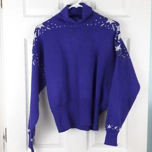 Vtg Meister Purple Stars Ski Sweater Turtleneck